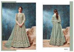 Blue color Net Fabric Heavily Embroidered Floor Length Anarkali style Suit
