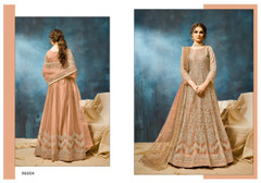Brown color Net Fabric Heavily Embroidered Floor Length Anarkali style Suit