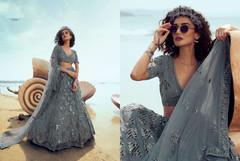 Bluish Grey color Soft Net Fabric Lehenga Choli
