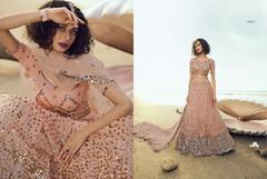 Powder Peach color Soft Net Fabric Lehenga Choli