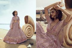 Powder Mauve color Soft Net Fabric Lehenga Choli
