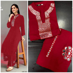 Red color Rayon Cotton Fabric Ban Neck Design Top and Bottom