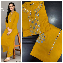 Mustard color Rayon Cotton Fabric Ban Neck Design Top and Bottom