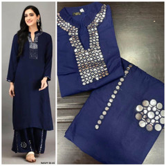Navy Blue color Rayon Cotton Fabric Ban Neck Design Top and Bottom