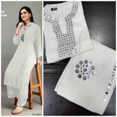 White color Rayon Cotton Fabric Ban Neck Design Top and Bottom