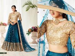 Blue color Net Fabric Lehenga Choli
