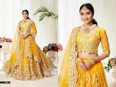 Yellow color Net Fabric Lehenga Choli