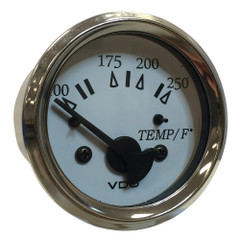 "VDO Cockpit Marine 52MM (2-1\/16"") Water Temp. Gauge - 0-250F - White Dial\/Chrome Bezel [310-15277]"