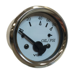 """VDO Cockpit Marine 52MM (2-1\/16"""") Oil Pressure Gauge - White Dial\/Chrome Bezel [350-15276]"""
