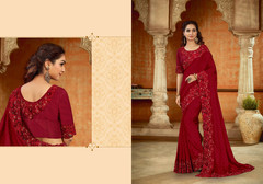 Red color Satin Two Tone Fabric Saree