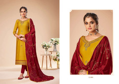 Yellow and Red color Jam Silk Fabric Suit