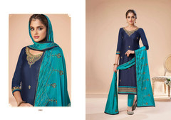 Double shade Blue color Jam Silk Fabric Suit