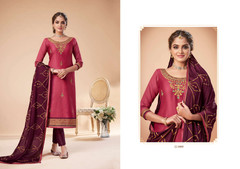 Pink and Wine color Jam Silk Fabric Suit
