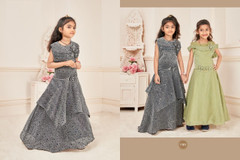 Grey color Silk and Lycra Fabric Kids wear Floor Length Gown