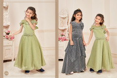 Cardamom Green color Silk and Lycra Fabric Kids wear Floor Length Gown