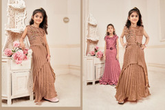 Brown color Silk and Lycra Fabric Kids wear Floor Length Gown