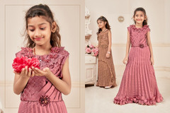 Pink color Silk and Lycra Fabric Kids wear Floor Length Gown