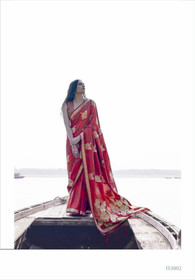 Red color Pure Satin Weaving Silk Fabric Saree