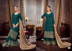 Blue color Pure Georgette Fabric Heavily Embroidered Suit