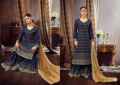 Navy Blue color Pure Georgette Fabric Heavily Embroidered Suit