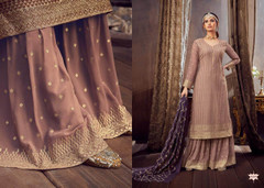 Mauve color Pure Georgette Fabric Heavily Embroidered Suit