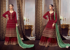 Red color Pure Georgette Fabric Heavily Embroidered Suit