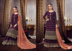 Purple color Pure Georgette Fabric Heavily Embroidered Suit