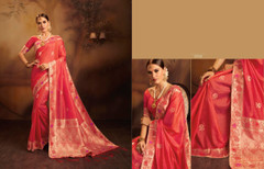 Red color Fancy Jacquard Silk Fabric Saree