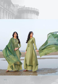 Olive Green color Cotton Silk Fabric Suit