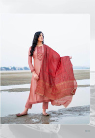 Pink color Cotton Silk Fabric Suit