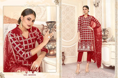 Red color Net Fabric Suit