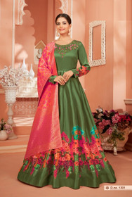 Green color Satin Silk Fabric Full Sleeves Floor Length Anarkali style Suit