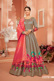 Grey color Satin Silk Fabric Full Sleeves Floor Length Anarkali style Suit