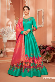 Peacock Blue color Satin Silk Fabric Full Sleeves Floor Length Anarkali style Suit