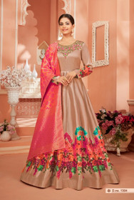 Coffee color Satin Silk Fabric Full Sleeves Floor Length Anarkali style Suit