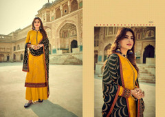 Yellow color Pure Viscose Silk Fabric Suit