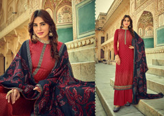 Red color Pure Viscose Silk Fabric Suit