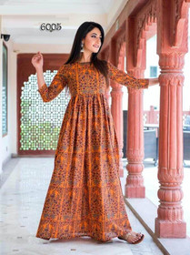Orange and Brown color Pure Muslin Fabric Printed Ankle Length Kurti