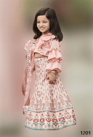Cream and Peach color Printed Tussar Silk Fabric Kids Wear Lehenga Choli
