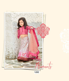 Off White and Magenta color Printed Tussar Silk Fabric Kids Wear Lehenga Choli
