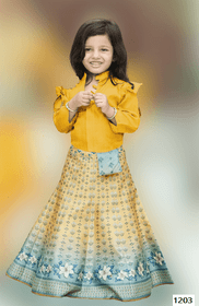 Yellow and Blue color Printed Tussar Silk Fabric Kids Wear Lehenga Choli