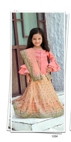 Peach and Pink color Printed Tussar Silk Fabric Kids Wear Lehenga Choli