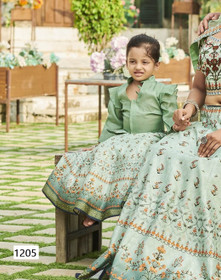 Powder Green color Printed Tussar Silk Fabric Kids Wear Lehenga Choli