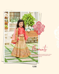 Orange color Printed Tussar Silk Fabric Kids Wear Lehenga Choli