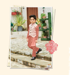 Light Onion shade Cotton Silk Fabric Kids Kurta Pajama Set