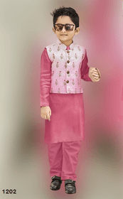 Pink shade Cotton Silk Fabric Kids Kurta Pajama Set