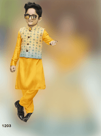 Yellow shade Cotton Silk Fabric Kids Kurta Pajama Set