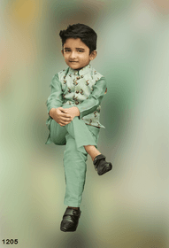Cardamom Green shade Cotton Silk Fabric Kids Kurta Pajama Set