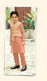 Brown shade Cotton Silk Fabric Kids Kurta Pajama Set