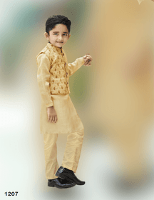 Golden shade Cotton Silk Fabric Kids Kurta Pajama Set